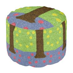 Green grass with yellow flower and a blue tree with red fruits. You can also customize it to get a more personal look. Red Fruit, Poufs, Green Grass, Yellow Flowers, Calm, Indoor, Colorful, Abstract, Unique