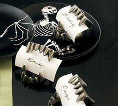 Spray Paint Plastic Vampie Fangs in Metallic Pewter for Halloween Chic Placecard Holders  (Paper Chick: Halloween Decor)