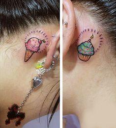 Ice Cream Tattoo for Ear Backside