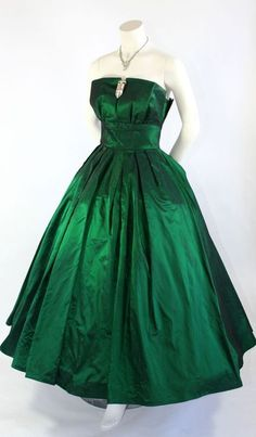 Dior 1950s emerald green evening dress gown designer couture full skirt strapless.