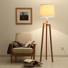 Современный высокий деревянный пол лампы для гостиной из массива дерева штатив напольные лампы лофт ofhead светильник освещения купить на AliExpress