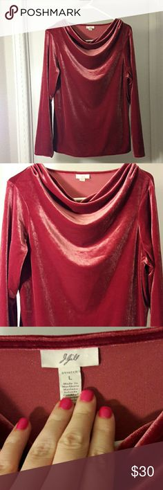 J. Jill Velvet Metallic Red Cowlneck Longsleeve J. Jill Velvet Metallic Red Shiny Cowlneck Longsleeve Size Large Stretch Measured 24 inches long Perfect for Valentine's Day J. Jill Tops