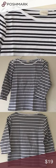 Chico's mock boat neck 3/4 sleeve T-shirt M Great pre-owned condition Chico's mock boat neck 3/4 sleeve T-shirt Medium. Size tag cut out, fits my dress form perfectly so it's a medium reg. Feel free to use the offer button. Chico's Tops Tees - Long Sleeve