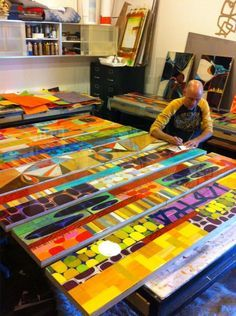 Collage on a grand scale. Artist at work Collages, Collage Art, Pintura Graffiti, Medium Art, Oeuvre D'art, Art Studios, Artist At Work, Painting Inspiration, Art Lessons