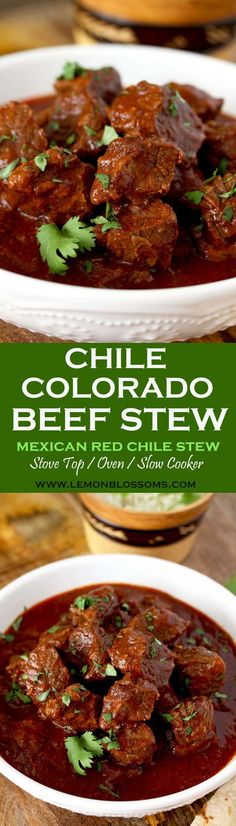 This rich and hearty Chile Colorado Beef Stew is lip-smacking good! Beef chunks are simmered in a Mexican style red chile sauce until fall-apart tender. A meal in itself and perfect for tacos or burritos!