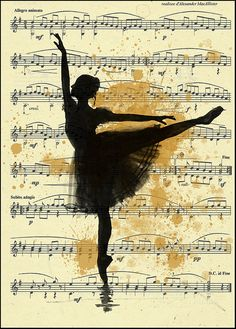Print Art Ink Drawing Ballet Sketch Silhouette Painting Illustration Gift Ballerina Vintage  Autographed Emanuel M. Ologeanu