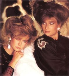 L'Oreal, early Models : Nancy DeWeir Rosemary McGrotha 80s Fashion, Fashion History, Vintage Fashion, Edwardian Fashion, 1980s Hair, Vogue, Beauty Shots, Vintage Glamour, Famous Women