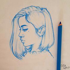 Картинка с тегом «girl, blue, and draw»