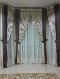 Grey Curtains Bedroom, Living Room Drapes, Home Curtains, Curtains With Blinds, Window Curtains, Curtains 2018, Luxury Curtains, Elegant Curtains, Bay Window Treatments