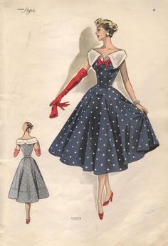 1950s Women's Color Fashion Plate by Robes by ...