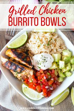 Grilled Chicken Burrito Bowls   Chicken Recipes   Bowl Recipes   Healthy Recipes   Cookin With Mima   #grilledchicken #burritobowls #healthy #cookinwithmima