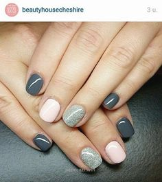 Grey-light-pink-and-glitter | Easy Spring Nail Designs for Short Nails…