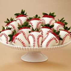 Strawberry Baseballs....We are serving these with cake balls at our wedding.