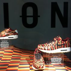 Amazing London underground seat-inspired jacquard knit Nikes! #WANT Nike x Roundel by London Underground Air Max collection. Piccadilly station, London