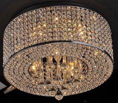 Contemporary Modern Round Crystal Flushmount Chandelier Pendant Ceiling Fixture | eBay