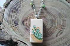 Upcycled Cactus Domino Necklace, Prickly Pear Cactus by ArtfullyReDesigned, $22.00