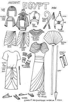 Paper dolls of ancient history- Ancient Egypt Ancient Vikings Ancient Rome Elizabethan Era Ancient China Ancient Japan Ancient India teaching-history Egyptian Costume, Egyptian Art, Egyptian Dresses, Nefertiti Costume, Egyptian Crafts, Egyptian Food, Teaching History, Teaching Art, History Classroom