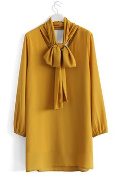 Bow My Way V-neck Dress in Mustard - New Arrivals - Retro, Indie and Unique Fashion