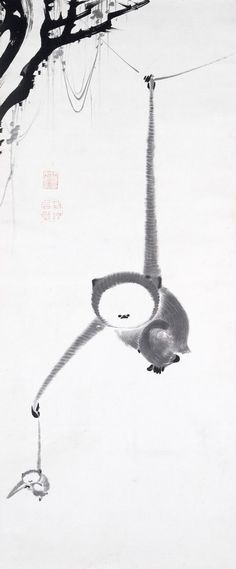 Ito Jakuchu, Two Gibbons Reaching for the Moon, 1770