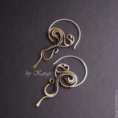Купить Серьги Otero (серебро) - разноцветный, серьги-кольца, серебро, латунь, подарок, необычные серьги