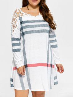 | Black Friday Sale: Extra 15% OFF Using Code SAMMY2016 | Stripes Plaid Lacework Splicing Plus Size Dress in White | Sammydress.com