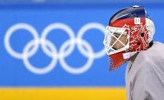 Gólman Dominik Furch při tréninku českých hokejistů v jihokorejském Gangneungu. (12. února 2018)