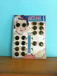 5fb68b7604e8 1930s 1940s Anti-Ray Goggles Sunglasses Display. 1940s FashionVintage  FashionVintage OutfitsMetal PinsReading GlassesEyeglassesLensesEyewear Display
