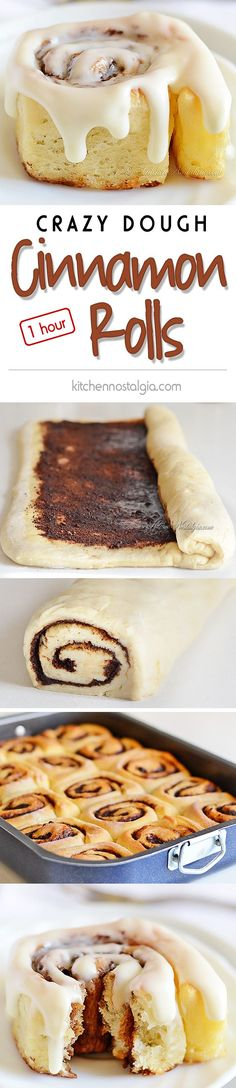 Crazy Dough Cinnamon Rolls - easy recipe for cinnamon rolls from scratch made in 1 hour; no kneading needed - kitchennostalgia.com