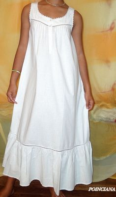 Thea Poinciana Sleeveless Gown Length - Cotton Medium Weight Fabric - From Thea's White Nights Collection. Matching Robe is Poinsetta Nice Dresses, Casual Dresses, Fashion Dresses, Night Gown Dress, Nightgown Pattern, Rajputi Dress, Nightgowns For Women, Pretty Lingerie, African Traditional Dresses