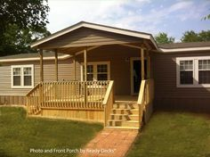Affordable and attractive gable style front porch with porch skirting built by Ready Decks® and shared on Front-Porch-Ideas-and-More.com