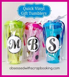 [Video]How to make Vinyl Monogrammed Cups-Cricut Artbooking