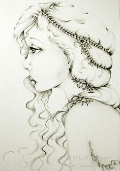 Fairy Fine Art Fantasy Original Drawing  Black by ABitofWhimsyArt, $145.00