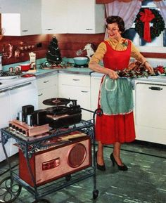 Playing records in the kitchen while preparing christmas dinner.