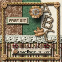 "GRANNY ENCHANTED'S FREE DIGITAL SCRAPBOOK KITS: ""Country Kitchen"" Free Digital Scrapbook Kit with Papers, Alphabet, and Embellishments"