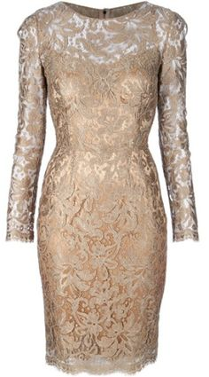 DOLCE & GABBANA Gold Lace Dress Gold-tone wool mix dress from Dolce & Gabbana featuring a round neck, long sleeves, a concealed zip fastening to the back and a tonal lining.