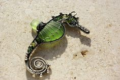 Seahorse wire wrapped seaglass pendant