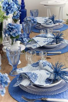 Blue and white tabletop styling.