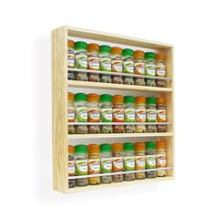 Solid Pine Wooden Spice and Herb Rack with 3 shelves Kitchen / Display Unit.  The spice rack is available in widths from 24.5 cm to 56 cm and
