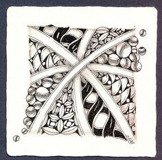 Cross Roads, more examples here by Michele Beauchamp, Certified Zentangle Teacher