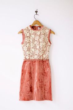 1960's vintage mini dress—cream lace and mauve crushed velvet. velvet edging, velvet belt. zips down back.