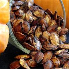Spiced Maple Pumpkin Seeds. Butter Pumpkin seeds Cinnamon Nutmeg Maple syrup
