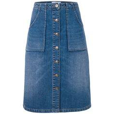 Fat Face Alexa Denim Skirt, Blue (495 SEK) ❤ liked on Polyvore featuring skirts, button skirt, knee length denim skirt, pencil skirt, denim pencil skirt and knee length denim pencil skirt