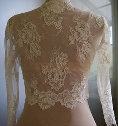Wedding bolero-jacket of lace 3/4 sleeve alencon . by TIFARY