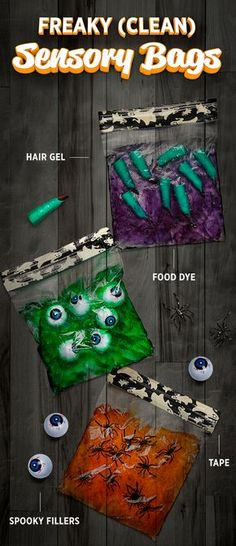 This holiday, contain the ooey gooeyness of Halloween in homemade sensory bags. They're just the thing to keep the kids entertained and messes under wraps. I know this says to use hair gel but I think homemade slime would work just as well if not better ! Theme Halloween, Halloween Crafts For Kids, Halloween Games, Halloween Birthday, Halloween Activities, Holidays Halloween, Fall Crafts, Holiday Crafts, Holiday Fun