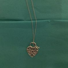 Tiffany & Co. Necklace Tiffany Filigree heart pendant with key in sterling silver, large. Tiffany & Co. Jewelry Necklaces