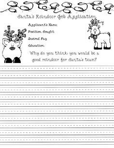 Santa's Reindeer Job Application.. Cute writing assignment for Christmas