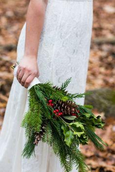 Winter wedding bouquet of pine: http://www.stylemepretty.com/new-york-weddings/2014/12/25/rustic-wintry-wedding-inspiration-at-emmerich-tree-farm/ | Photography: Sarah Tew - http://www.sarahtewphotography.com/