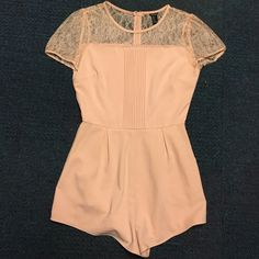 Chiffon romper Super cute chiffon romper with lace design and belt Dresses Mini