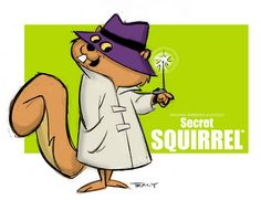 Secret Squirrel is a cartoon squirrel created by Hanna-Barbera. Secret Squirrel was one of two co-stars of The Atom Ant/Secret Squirrel Show. Looney Tunes Characters, Classic Cartoon Characters, Cartoon Tv Shows, Favorite Cartoon Character, Classic Cartoons, Hanna Barbera, Old School Cartoons, Cool Cartoons, Looney Tunes Personajes