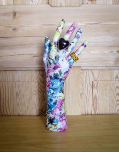 Vintage Style Floral Decoupage Mannequin Hand, Ring, Bracelet, Necklace, Jewellery Display Holder.